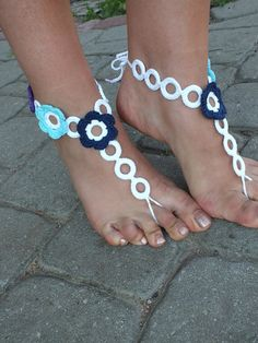 Crochet Barefoot Sandals Nude shoes Foot Jewelry by DachuksB