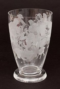 Found on www.botterweg.com - Clear glass vase with cut and etched decoration of grape harvesting men and women design A.D.Copier ca.1948 executed by Glasfabriek Leerdam / the Netherlands Glass School period