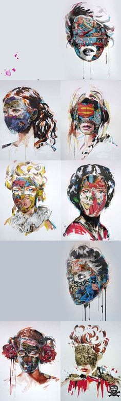 Sandra Chevrier I like the idea of giving them masked, an idea for my final piece Portraits, Portrait Art, Disguise Art, Cute Drawings Of Love, Identity Art, A Level Art, Gcse Art, Photoshop, Art Plastique