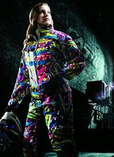 Wynnette in a CASTLE funky 2-piece kaleidoscope pattern snowmobile suit.