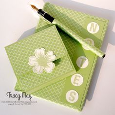 Stampin' Up! Independent Demonstrator UK - Tracy May: School's Out for Summer! Altered Composition Books, Diy Notebook, Notebook Covers, Post It Note Holders, School's Out For Summer, Cool Paper Crafts, Craft Show Ideas, Paper Gifts, Cool Cards