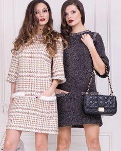 Шикарные, элегантные и женственные твидовые платья подходят для яркой вечеринки, делового ужина и романического свидания. #mazini #mzn #tweed #dress
