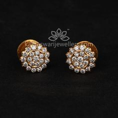 Mesmerizing collection of gold earrings from Kameswari Jewellers. Shop for designer gold earrings, traditional diamond earrings and bridal earrings collections online. Buy Earrings, Small Earrings, Earrings Online, Necklace Online, Stone Earrings, Gold Earrings Designs, Necklace Designs, Earings Gold, Gold Necklace