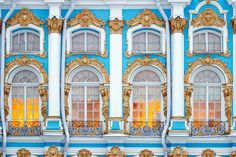 Facade decoration of Catherine Palace in Tsarskoye Selo (Pushkin), south of St Petersburg, Russia