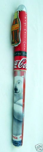 1996 Polar Bear Pen with Coke Bottle Shaped Pocket Clip on Lid  .. Have a COKE and a SMILE!  Bling Blinky of TEXAS - FREE SHIPPING!