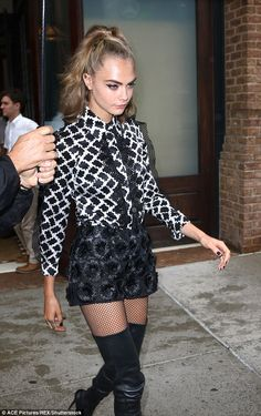 Work it! The blonde beauty looked every inch a fashionista in a pair of thigh-skimming she...