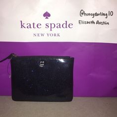 NWT Kate Spade Mavis Street Mini Pouch Tag is unattached, inside the bag. Authentic Kate spade Mavis Street mini pouch in blue glitter. Has a zip top closure. Two card slots on the inside. Never been used.                  Measurements: 6.5L x 4.75H.                         Price is negotiable.❌TRADES❌ kate spade Bags Cosmetic Bags & Cases