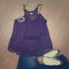 ⭐️SALE⭐️Sheer Polka Dot Tank Lovely flow-y racer back tank for summertime! Soft and sheer navy with white polka dots. Pleating and brass tone buttons down the front. Braided adjustable straps. Only worn a handful of times. 100% polyester. aerie Tops Tank Tops