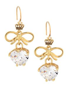 Heart Bow Drop Earrings by Juicy Couture