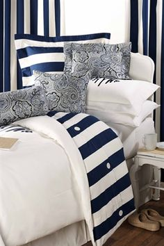 """""""Nautical Stripe"""" Designer Twin/Twin XL Bedding 11 pc. Set only NINE sets remaining! This beautiful set includes duvet, standard sham, euro sham, neckroll, boudoir pillow and square accent pillow, and all of the inserts. You will love this bedding. Shop Now! www.amdorm.com #madeinUSA"""