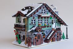 Winter Chalet 02 by Sandro Damiano - I love the 1st floor random use of various grey bricks, plus all the details. Definitely use these ideas. :)
