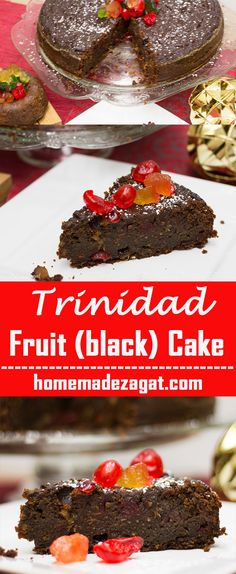 A decadent Caribbean black cake, a heavy duty rum fruit cake, popularly made in the Caribbean around Christmas time using rum soaked fruits of raisins, prunes, currants. #caribbeanfood #caribbeanchristmas #fruitcake #blackcake