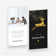 Weihnachtskarte Springender Hirsch 10 x 21 cm - Dankeskarte.com Movie Posters, Pictures, Geometric Deer, Thanks Card, Xmas Cards, Christmas, Film Poster, Billboard, Film Posters