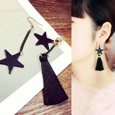 星スターモチーフ/フリンジ アンバランスピアス Diy Tassel Earrings, Tassel Jewelry, Fabric Jewelry, Chain Earrings, Earrings Handmade, Diy Jewelry, Beaded Jewelry, Jewellery, Handmade Accessories