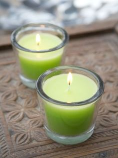 These gorgeous solid glass votives come filled with a lime green candle. Glass Candle, Votive Candles, Steam Bending Wood, Yellow Candles, Green Home Decor, Beautiful Interior Design, Green Life, Tea Light Holder, Candle Making