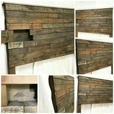wood Headboard With Shelf Head Boards - Diy storage headboard, Headboard storage, Pallet headboard, Diy Storage Headboard, Headboard With Shelves, Diy Headboards, Headboard Ideas, Diy Pallet Headboard, Reclaimed Wood Headboard, Headboards With Storage, Palette Diy, Hidden Compartments