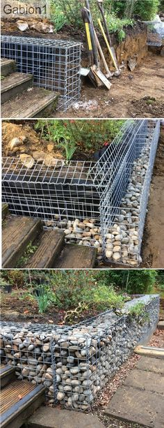 low gabion retaining wall construction, 600mm tall gabions http://www.gabion1.co.uk