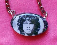 SALE Sexy Jim Morrison Resin Necklace The Doors pink chain HOT by AngelicConcepts, $13.00