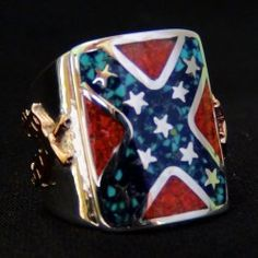Sterling silver ring for man totally handmade with a turquoise/lapis Lazuli and red coral Inlay. Turquoise, Red Coral, Lapis Lazuli, Rebel, Expensive Rings, Confederate Flag, Biker Rings, Feather Design, Hair Barrettes