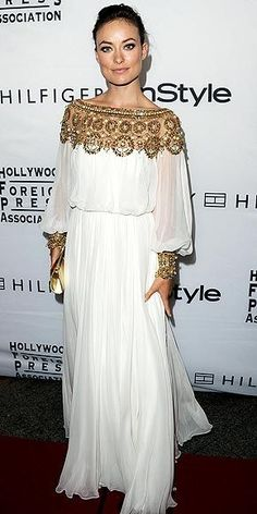 Olivia Wilde in a Greek Gown. Not that crazy about the dress but LOVE the beading!