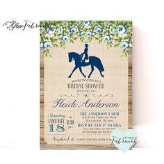 Equestrian Bridal Shower Invite - Derby Bridal Shower Invite - Rustic Vintage Ranch Shower Invite - Printable No.927