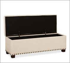 Attirant Nailhead Upholstered Storage Bench, Linen Weave, Natural | Upholstered Storage  Bench, Storage Benches And Bench