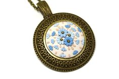 Floral Pendant Necklace • Filigree • Сameo pendant • Polymer clay applique • Clay embroidery • Fashion jewelry • Beige pendant • Jewelers