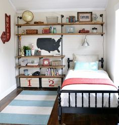industrial shelves from beneathmyheart.net Such a darling boy's room!