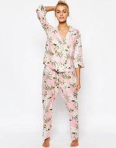 Image 1 of ASOS Vintage Hawaii Print Woven Shirt & Long Leg Pajama set