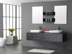 Bathroom Decorations. 18 Splendid Gray Bathroom Vanity Color Picture And Design Ideas: Astounding Double Bowl Washbasin Floating Gray Bathroom Vanity With Wall Mirror And Shelves In Modern Grey Bathroom Design Added White Bath Mat On Dark Floor Ideas