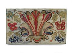 "AMERICAN FLORAL HOOKED RUG WITH STYLIZED ANTHEMION AND SMALLER FLOWERS, 30"" x 50"", MA, c. 1845"