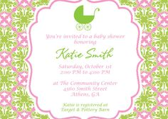 Printable Pretty in Pink and Green Baby Shower by cohenlane, $8.00