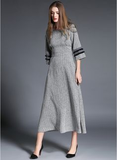 JC Collection Grey Solid Linen Maxi Dress