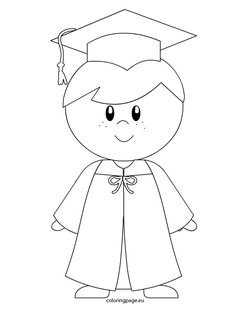 Kindergarten boy graduation coloring page