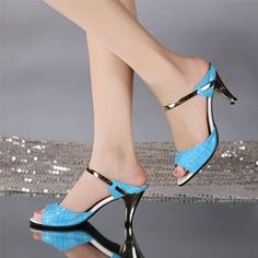 Stone Grain Leather High-heeled Sandals