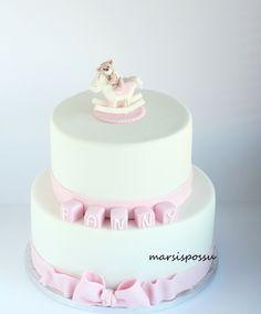 Marsispossu: Ristiäiskakku tytölle, Christening cake for baby girl Christening Cake Girls, Baby Girl Cakes, Communion Cakes, Vanilla Cake, Birthday Cake, Baby Shower, Baking, Desserts, Cookies