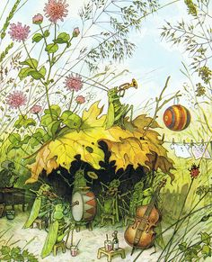 Gartenfest in Blumenhausen by Fritz BAUMGARTEN (Artist. Germany,1883-1966). Garden Party in Flower.   Erich Heinemann (Author).  © Copyright: Verlagsges. mbH (Carl Werner) Reichenbach i. V. / Germany; 1946.   Approved licenced Edition for Publisher (Augsburg / Germany; 1999).