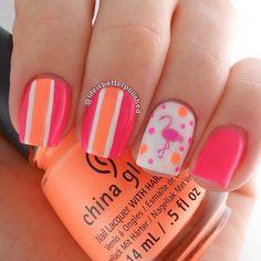 Flamingo nails using Nailed Kit nail art decals. Nails by: Fancy Nails, Cute Nails, Pretty Nails, Pretty Toes, Bright Nails, Neon Nails, Bright Pink, Flamingo Nails, Nails 2015