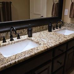 Could be OK. Bathrooms - Santa Cecilia granite countertops, bathroom vanity, granite vanity, Santa Cecilia, material from Levantina Dallas