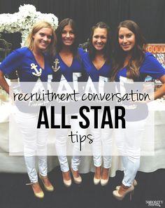 The Sorority Secrets: Recruitment Conversation All-Star Tips - Gotta save this for college! Phi Sigma Sigma, Delta Phi Epsilon, Alpha Omicron Pi, Kappa Kappa Gamma, Pi Beta Phi, Delta Gamma, Zeta Tau Alpha, Tri Delta, Sorority Rush