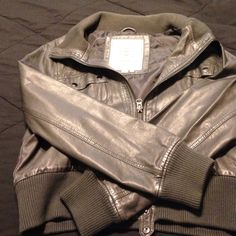 Grey Faux leather jacket PreOwned Faux leather jacket in good condition Libian Jackets & Coats Utility Jackets
