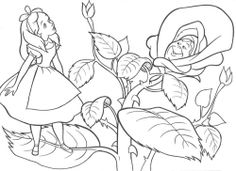 Alice In Wonderland Was Out In The Woods With Friends Coloring Pages
