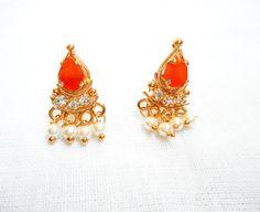 Indian earrings | Jumka earrings | rhinestone earrings | indian jewelry | gold earrings | pearl drop and dangle earrings |indian Studs