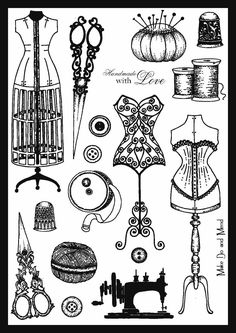 I wanted to let you know that Baroque have release 2 gorgeous stamp sets. Haberdashery is size and there's such alot on it, th. Sewing Art, Vintage Sewing Patterns, Vintage Labels, Vintage Ephemera, Collages D'images, Sewing Tattoos, Tampons, Digi Stamps, Sewing Notions