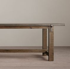 Reclaimed Wood & Zinc-Top Strap Rectangular Dining Table