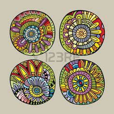 Find Set Decorative Hand Drawn Vector Floral stock images in HD and millions of other royalty-free stock photos, illustrations and vectors in the Shutterstock collection. Thousands of new, high-quality pictures added every day. Deco Ethnic Chic, Flower Line Drawings, Persian Motifs, Design Floral, Art Corner, Mandala Drawing, Painted Pots, Free Vector Art, Mandala Design