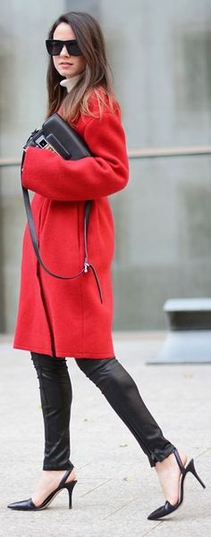 Red Oversize Coat by Fashionvibe