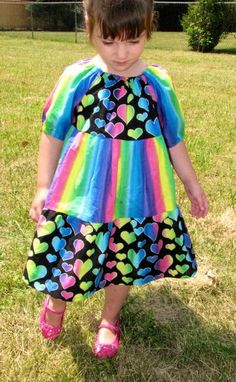 Rainbow Hearts Peasant Dress by MyFunClothes for $24.00