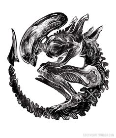 coeykuhn: Xenomorph tattoo commission from... • fuck yeah xenomorphs