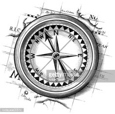 Compass resting on a map